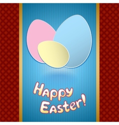 Easter card with eggs for greeting vector image