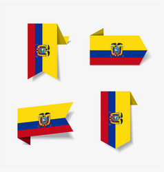 ecuadorian flag stickers and labels vector image