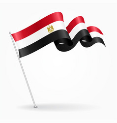 Egyptian pin wavy flag vector