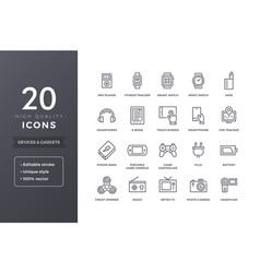Electronic devices line icons vector