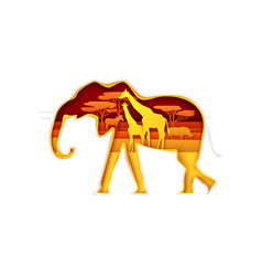 elephant silhouette with african nature giraffes vector image