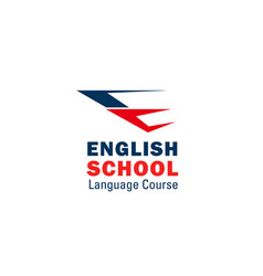 english language school letter e icon vector image