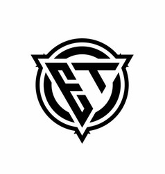 et logo with triangle shape and circle vector image