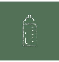 Feeding bottle icon drawn in chalk vector