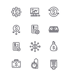Finance investments financial line icons set vector