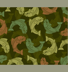 Fish military pattern fisherman clothing texture vector