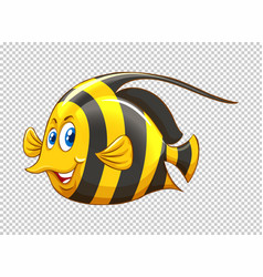 Fish with yellow and black striped vector