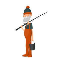 Fisherman fishing with fishing rod fishing people vector