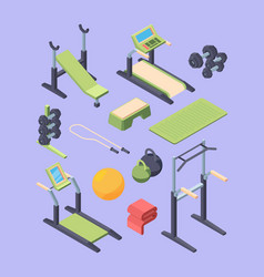 fitness equipment isometric large set dumbbells vector image