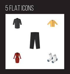 Flat icon dress set of clothes uniform foot vector