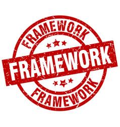 Framework round red grunge stamp vector