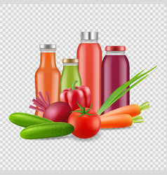 fresh juices isolated on transparent background vector image
