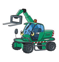 Funny small forklift truck or loader car with eyes vector
