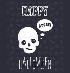 Halloween poster with funny skull vector