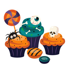 halloween sweets and decorated cupcakes vector image