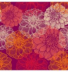 hand-drawn flowers dahlia seamless pattern vector image