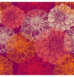 Hand-drawn flowers of dahlia Seamless pattern vector