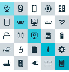 hardware icons set collection of diskette vector image