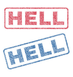 Hell textile stamps vector