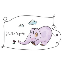 hello spring elephant vector image vector image