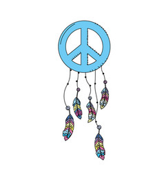 Hippie emblem symbol with feathers design vector