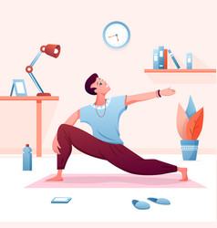 home yoga flat cartoon young vector image