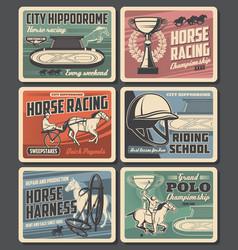 horse racing hippodrome racehorses and jockeys vector image