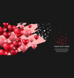 I love you background with floating heart balloon vector