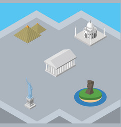 Isometric architecture set of chile egypt new vector