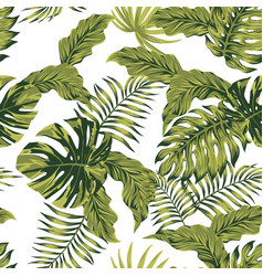 jungle tropical leaves autumn color seamless vector image