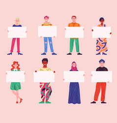 Large set diverse people holding blank posters vector