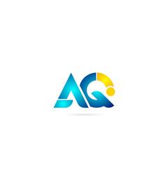 Letter combination aq a q orange blue alphabet vector