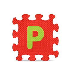 letter P written with alphabet puzzle vector image