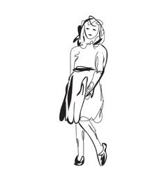 Little girl in the dress vector image