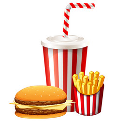 Lunch set with hamburger and fries vector