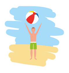 man in swimsuit holding beach ball vector image