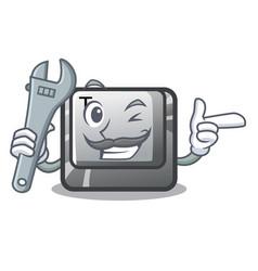 Mechanic button t in mascot shape vector