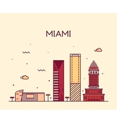Miami skyline trendy linear vector