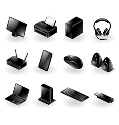 Mixed computer hardware icons vector image