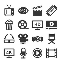 Movie cinema icons set vector