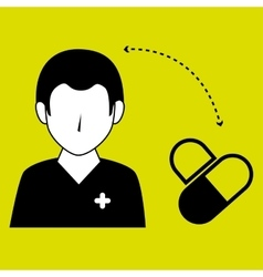 Nurse man and medicine isolated icon design vector