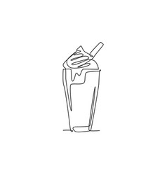 one single line drawing fresh milkshake with vector image