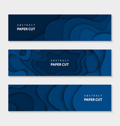 paper cut waves shape abstract template trendy vector image