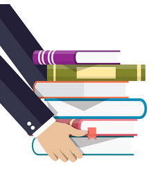 pile of books in hand vector image
