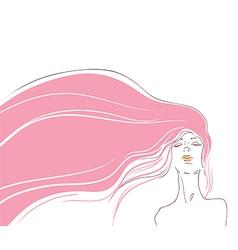 pink hair vector image