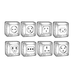 power sockets different countries sketch vector image