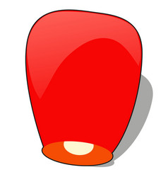 Red chinese sky lantern in the shape of heart vector