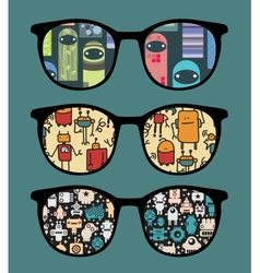 Retro sunglasses with sweet monsters reflection vector