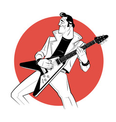 Rocker with electric guitar in sketch style on red vector