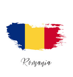 Romania watercolor national country flag icon vector
